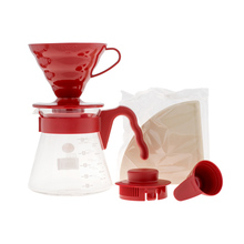 Hario zestaw V60 Pour Over Kit Red - drip + serwer + filtry (outlet)