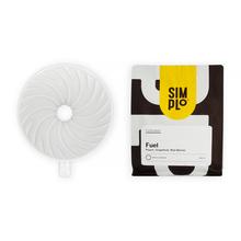 Zestaw Hario V60 Dripper Ceramiczny Biały + Kawa SIMPLo x Coffeedesk FUEL