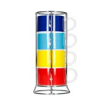 Bialetti Color - Zestaw 4 filiżanek do cappuccino na stojaku