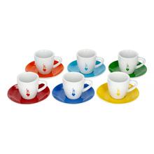 Bialetti Color - Zestaw 6 filiżanek ze spodkami do espresso