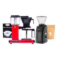 Zestaw Ekspres Moccamaster Red + Młynek Baratza + Kawa i filtry