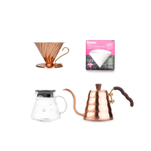 Royal Set: Hario Copper Buono + Dripper Hario V60 + Server + Filtry