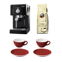 Zestaw Ekspres ciśnieniowy Gran Gaggia + 2 Filiżanki ze spodkami Loveramics + Kawa Caffe Vergnano