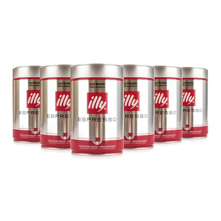 Zestaw 6 puszek kawy mielonej Illy Espresso 250g