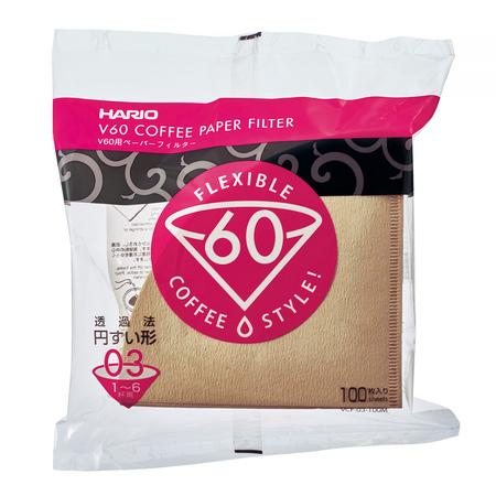 Hario filtry papierowe Misarashi brązowe - V60-03 - 100 Sztuk