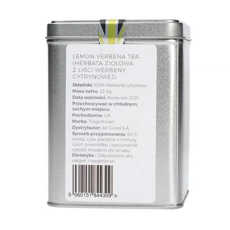 Tregothnan, herbata w puszce 15 piramidek, Lemon Verbana Tea Caddy (outlet)