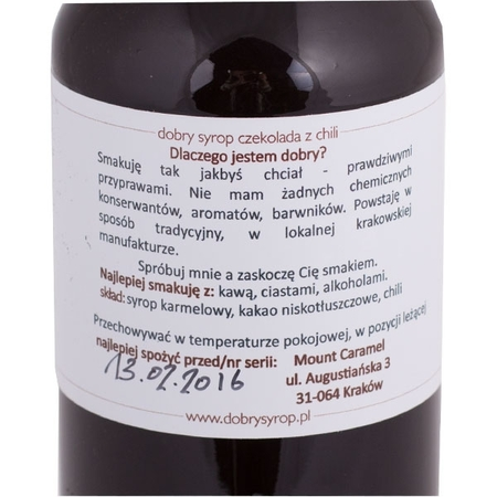 Mount Caramel Dobry Syrop - Czekolada z chilli 500 ml