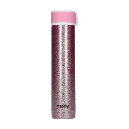 Asobu - Skinny Mini Glitter Różowy - Butelka termiczna 230 ml