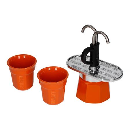 Bialetti Mini Express 2tz Pomarańczowa + 2 filiżanki