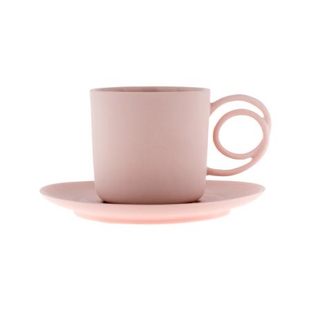 ENDE - Filiżanka 100ml ze spodkiem - Espresso Wire z różowej porcelany