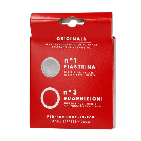Bialetti - Uszczelka (3 szt.) + sitko do kawiarek aluminiowych Bialetti 9tz
