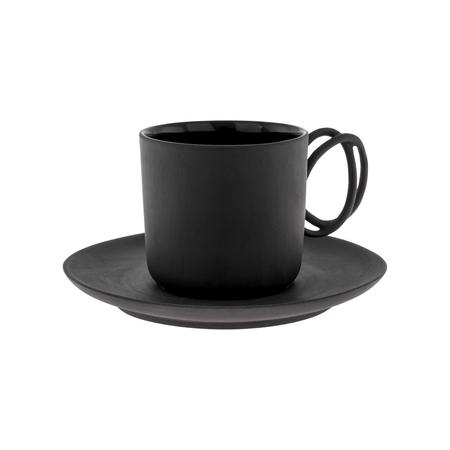 ENDE - Filiżanka 100ml ze spodkiem - Espresso Twist z czarnej porcelany