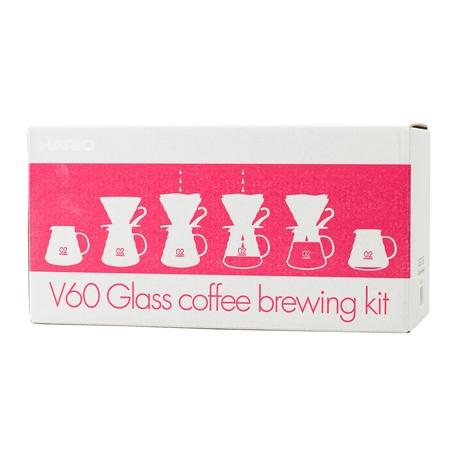 Zestaw Hario - V60-02 Glass Coffee Brewing Kit  - Czerwony
