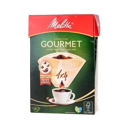 Melitta papierowe filtry do kawy Gourmet Aroma Zones 1x4 - brązowe - 80 sztuk