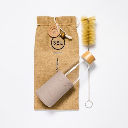 Sol - Kremowa butelka + Wycior + Etui