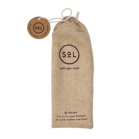 Sol - Zestaw 3 stalowych słomek + Wycior + Etui