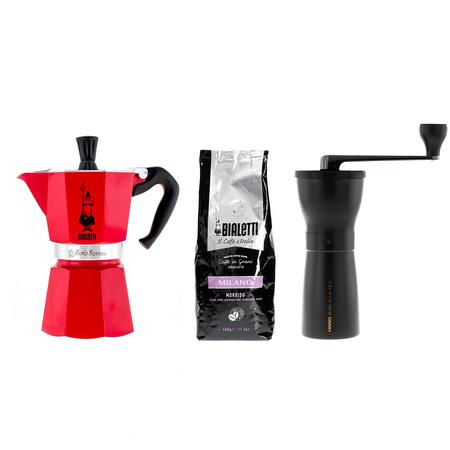 Zestaw Kawiarka Moka Express + Młynek Hario + Kawa