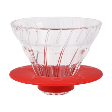 Zestaw Hario - V60-01 Glass Dripper + Serwer + Filtry  - Czerwony