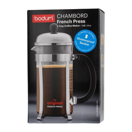 Bodum Chambord French Press 8 cup - 1l Chrom  - Ze zbiornikiem z tworzywa