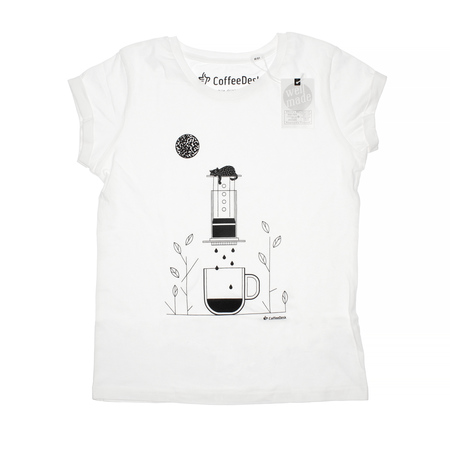 Koszulka Coffeedesk Aeropress Biała - Damska XL