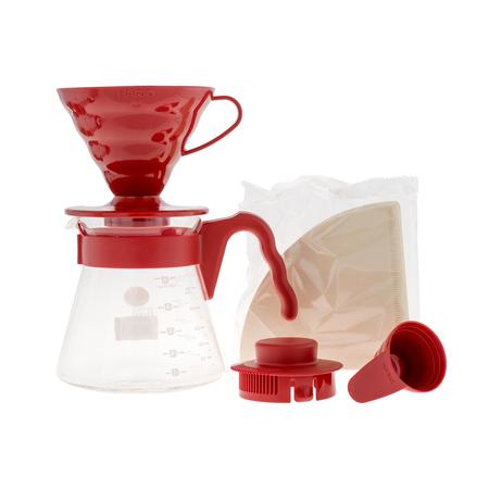 Hario zestaw V60 Pour Over Kit Red - drip + serwer + filtry