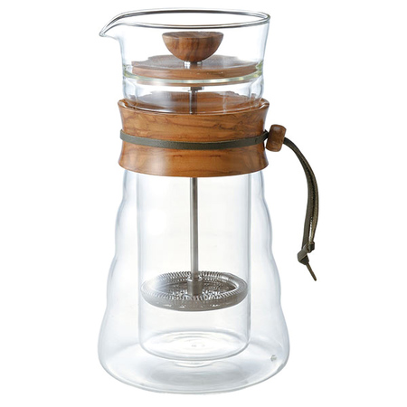 Hario Cafe Press Double Glass - Olive Wood - 400ml (outlet)