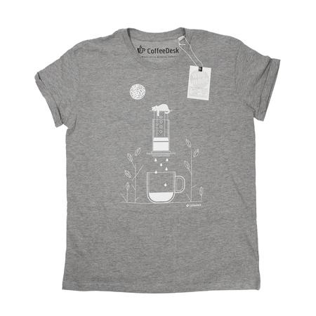 Koszulka Coffeedesk Aeropress Szara - Męska XL