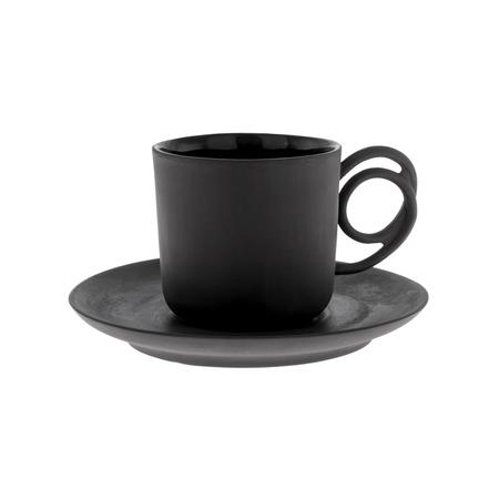 ENDE - Filiżanka 100ml ze spodkiem - Espresso Wire z czarnej porcelany