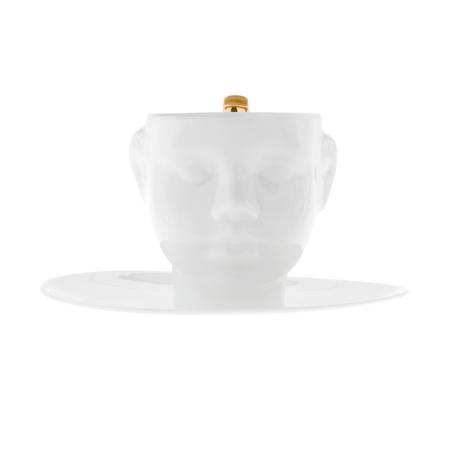 ENDE - Filiżanka 130ml ze spodkiem - Główka z porcelany zdobiona złotem