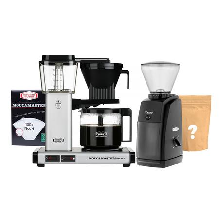 Zestaw Ekspres Moccamaster Select Matt Silver + Młynek Baratza + Kawa i filtry