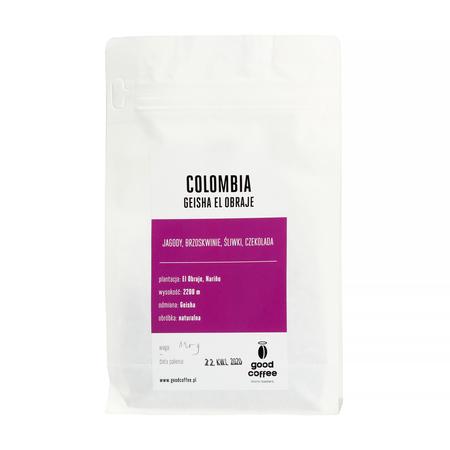 Good Coffee Colombia Narino El Obraje Geisha Natural FIL 125g, kawa ziarnista (outlet)