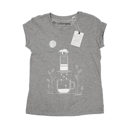 Koszulka Coffeedesk Aeropress Szara - Damska XL