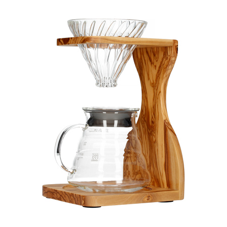 Hario Olive Wood Set - dripstacja + drip + serwer + filtry