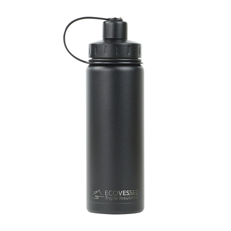 EcoVessel - Butelka termiczna Boulder - Czarna 600 ml